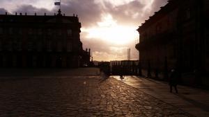 pilgrims-at-santiago-at-sunset